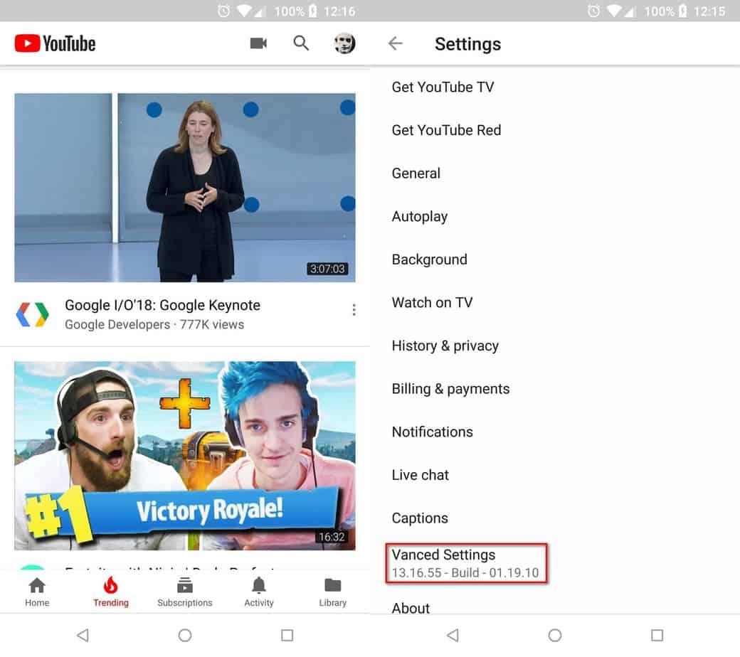 YouTube Vanced 无广告后台播放YouTube客户端